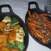 Sauteed veggies and sweet potatoe fries
